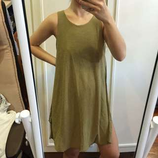 Army Green Dress With Sideslit