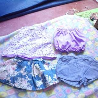REPRICED Terno, Skirt And Short For Baby Girls