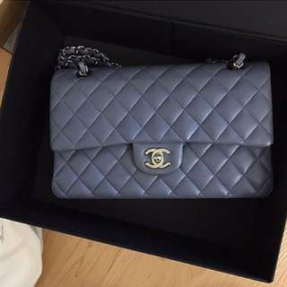 Chanel Classic Quilt Double Flap in Grey Lavender Lambskin Silver HW