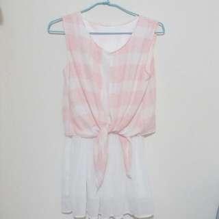 粉色甜美風 格子 夏日連身裙