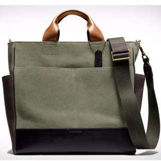 Coach Bleecker Utility Bag - Brown Leather and Green Canvas