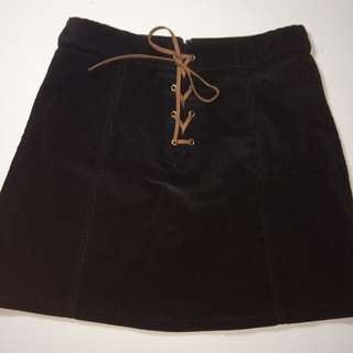 Forever 21 Black Corduroy Lace Up Skirt