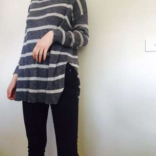 Striped Over Throw Top