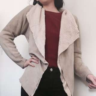 Suede And Lambs Wool Cardigan
