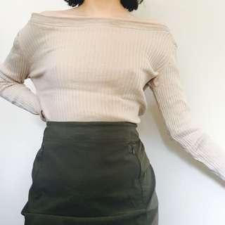Striped Shoulder Ribbed Top