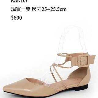 RANDA裸色時尚尖頭平底鞋