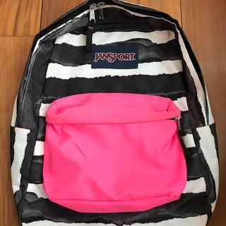 全新正品/Jansport斑馬紋螢光粉紅後背包 小瑕疵 斷貨款