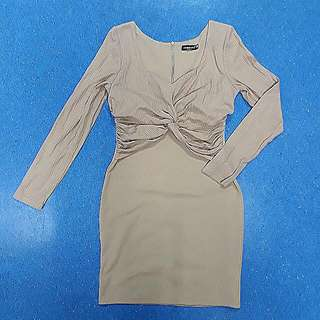 Sexy Nude Long-sleeved Bodycon Dress