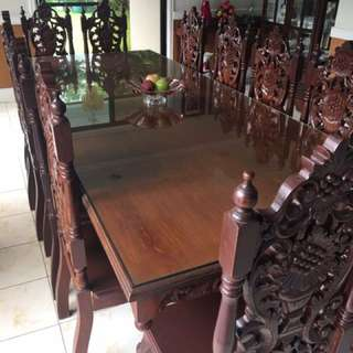 12 Seater Narra table with Glass Top