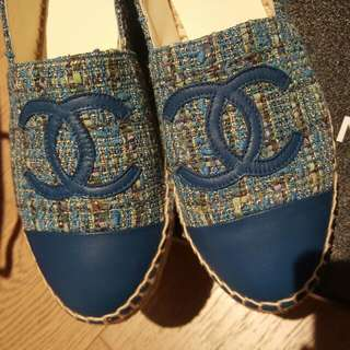 Chanel Blue Tweed Espadrilles 37