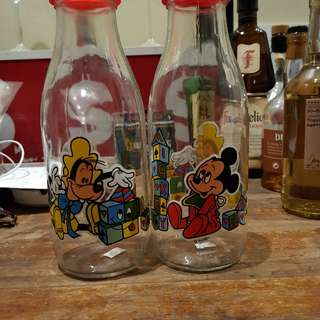 1970's Disney Glass Bottles