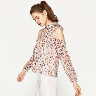 Zara Basic Open Shoulder Floral Top