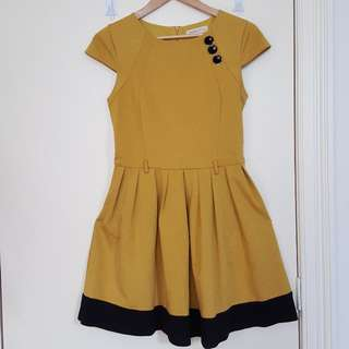 Mustard and black Dress