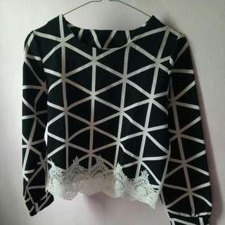 Crop Blouse In Black And White Lacy