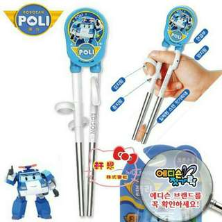 【妮醬日貨】救援小英雄 波力警車 韓國製 不鏽鋼 愛迪生 學習筷 筷子 308227