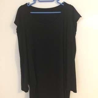 清衣櫃系列-黑色長袖簿質長身裙