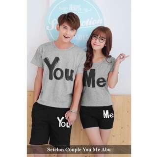 stelan couple pria wanita termurah-baju celana couple pasangan serasi-Setelan Couple You Me Abu