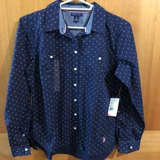 Polo藍色襯衫m號
