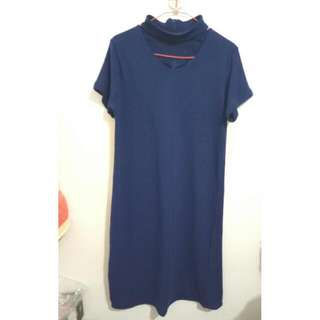 Blouse Navy Choker