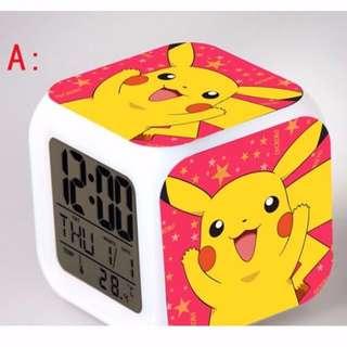 Cute Pokemon Pikachu Design LED Digital Clock with Alarm