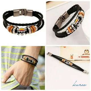Gelang Kulit Leather Multi Layer One Piece