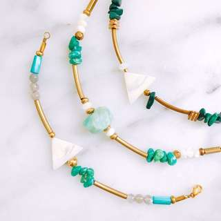 [網路價] 香港Vanilla Jewelry獨家設計款-純手工天然石黃銅手鍊-可客製*