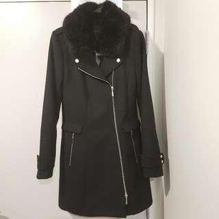 Orea Biker Jacket with Detachable Faux Fur Collar