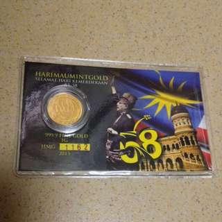 1g 999 Pure Gold Coin HMG-58 Tahun Merdeka