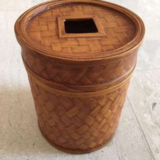 Bamboo toilet Roll Container
