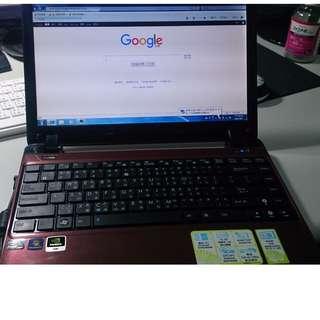 二手 八成新 ASUS EeePC 1201N 11.6吋獨顯小筆電 WIN7(電池不蓄電)