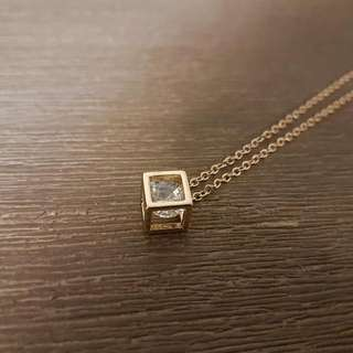 Diamond-in-a-golden-cube Necklace