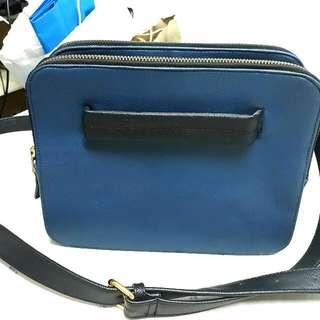 *Repriced* Navy Blue Tri Zipper Bag