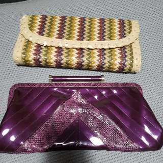Two Clutches. Purple And Multicolour