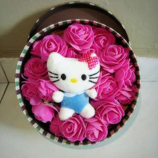 Cute Hello Kitty Plushie pink Roses Bouquet Gift Box Flower for Gifts Valentines Day Mothers day Gifts