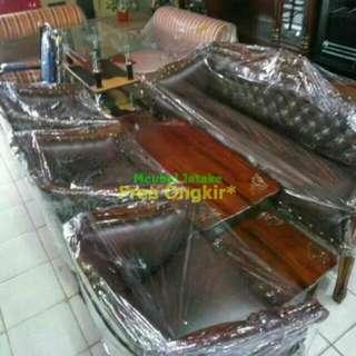 Kursi / Sofa Tamu Jati Louis Bolong 3111 + Meja Besar + Meja Kecil 2
