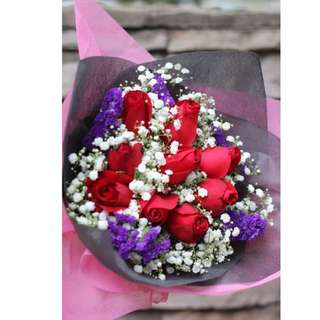 9 Fresh Red Roses Bouquet Flower for Gifts Valentines Day Mother's Day Gifts