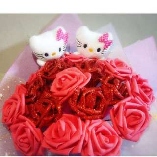 Cute Hello Kitty Couple Plushie Dazzling Red Roses Bouquet Flower for Gifts Valentine's Day Mother's Day Gifts ( 2 Couple Hello Kitty Plushie )