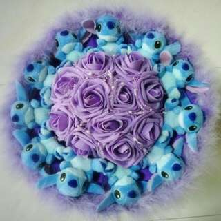 Cute 11 Stitch Plushie Purple Roses Bouquet Flower for Gifts Valentines Day Mother's Day Gifts ( 11 Stitch Plushie )