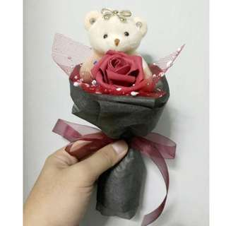 Cute Teddies Bear Plushie Red Roses Bouquet Flower for Gifts Valentines Day Gifts ( 1 Teddy Bear 1 Roses)