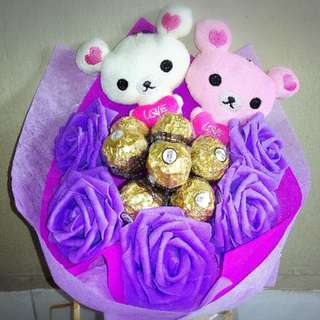 Cute Couple Rilakkuma Plushie Ferrero Rocher Purple Rose Bouquet Flower for Gifts Valentines Day Gifts