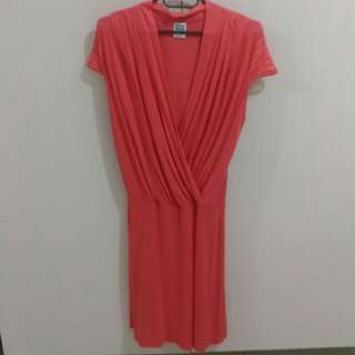 Vero Moda V-neck Pink Dress (Garterized)