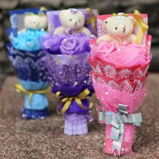 Cute Teddies Bear Plushie Pink Purple Blue Red Roses Bouquet Flower for Gifts Valentines Day Gifts ( 1 Teddy Bear 3 Roses)
