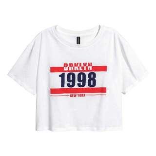 H&M Crop Top 1998 White Shirt
