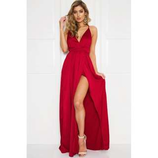 Satin Plunge Backless Formal Dress with Leg Split