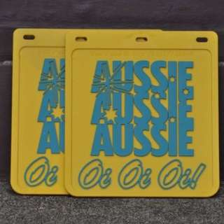 2 X UTE Mudflap Yellow Rubber 9x10 230x250 for 4x4 4WD Trailer Yellow Mud Flap