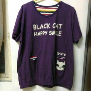 🚚 紫色貓咪口袋上衣
