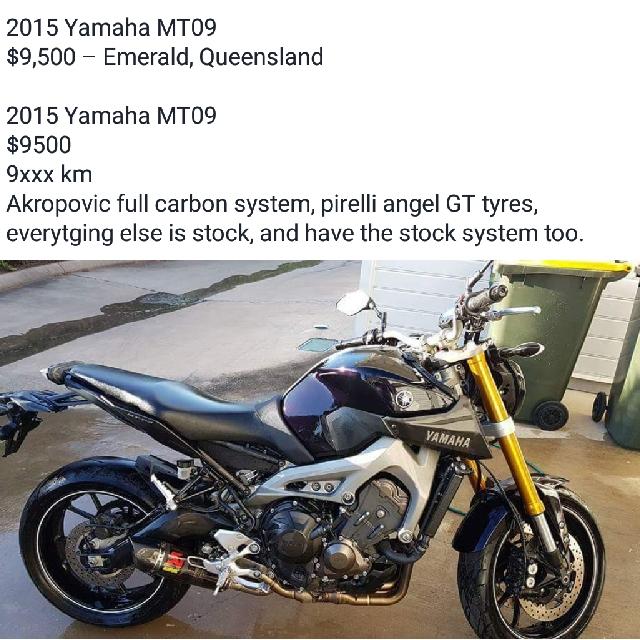 2015 Yamaha MT09