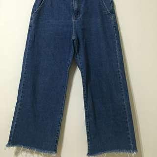 韓製 牛仔寬褲