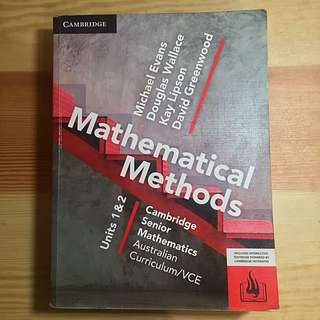 Maths Methods Unit 1/2 VCE Cambridge Textbook 2017