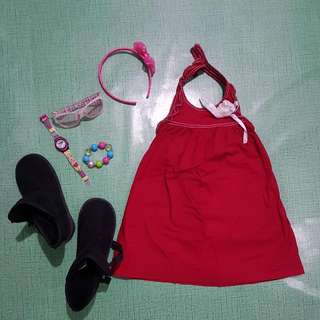 Bambini Red Dress With White Flower Accent